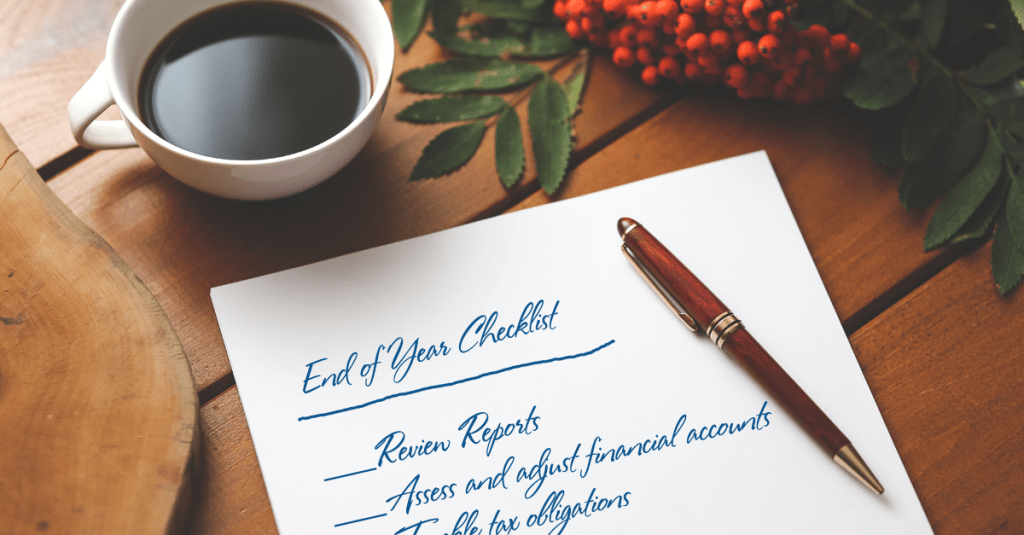 End of year checklist on a table.